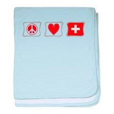 Peace Love and Switzerland baby blanket