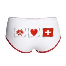 Peace Love and Switzerland Women's Boy Brief
