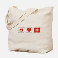 Peace Love and Switzerland Tote Bag