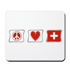 Peace Love and Switzerland Mousepad