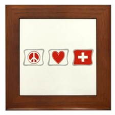 Peace Love and Switzerland Framed Tile