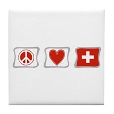 Peace Love and Switzerland Tile Coaster
