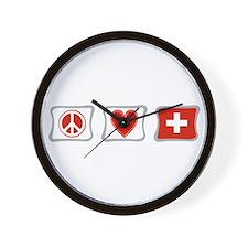 Peace Love and Switzerland Wall Clock
