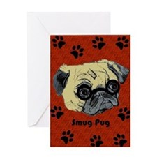 Cute Smug Pug Greeting Card