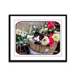Kitten in a Basket Framed Panel Print