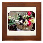 Kitten in a Basket Framed Tile