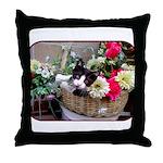 Kitten in a Basket Throw Pillow