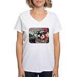 Kitten in a Basket Women's V-Neck T-Shirt