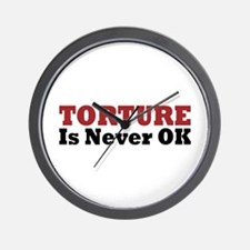 Torture Is Never OK Wall Clock