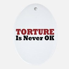 Torture Is Never OK Oval Ornament
