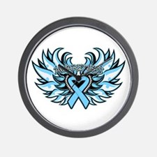 Prostate Cancer Heart Wings Wall Clock