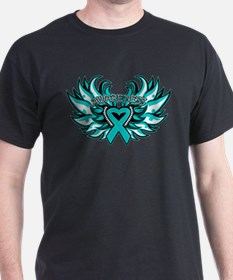 Peritoneal Cancer Heart Wings T-Shirt