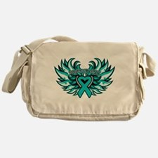 Peritoneal Cancer Heart Wings Messenger Bag