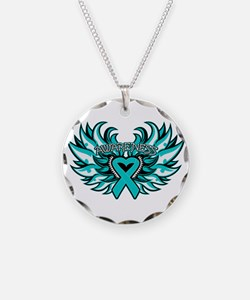 Peritoneal Cancer Heart Wings Necklace