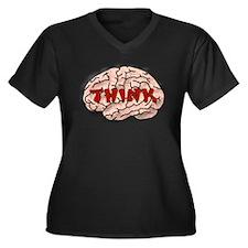 Think Brain Women's Plus Size V-Neck Dark T-Shirt