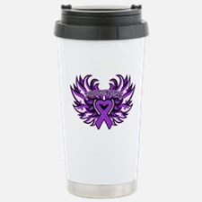 Pancreatic Cancer Heart Wings Travel Mug