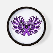 Pancreatic Cancer Heart Wings Wall Clock