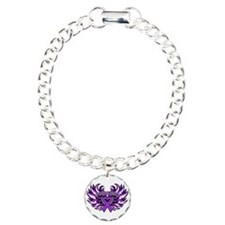 Pancreatic Cancer Heart Wings Bracelet