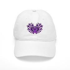 Pancreatic Cancer Heart Wings Baseball Cap