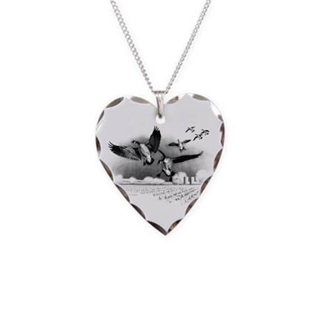 Canadian Geese Necklace Heart Charm