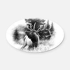 Elk Bugle.tif.png Oval Car Magnet