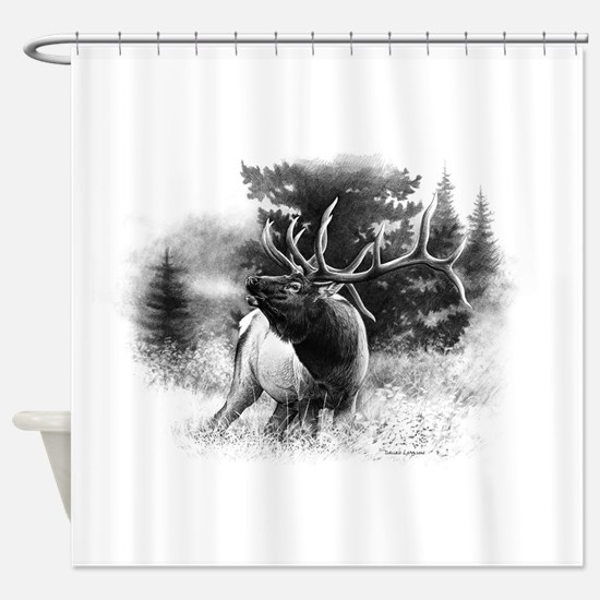 Elk Bugle.tif.png Shower Curtain