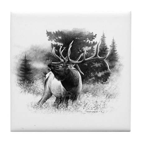 Elk Bugle.tif.png Tile Coaster