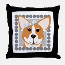 Corgi Diva Dog Art Throw Pillow