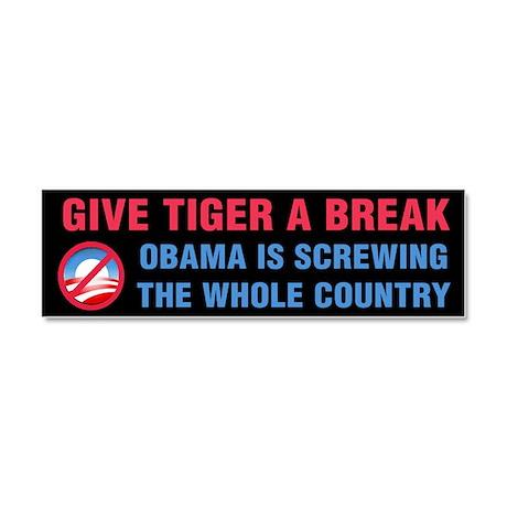 Give Tiger a Break Car Magnet 10 x 3