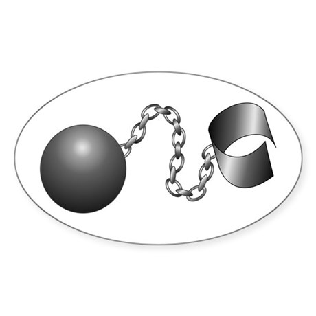 Ball And Chain Oval Sticker