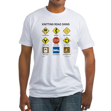 Knitting Road Signs Fitted T-Shirt