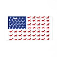 Patriotic USA Horse Flag Aluminum License Plate