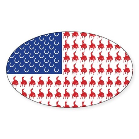 Patriotic Rodeo Cowboy USA Fl Sticker (Oval)