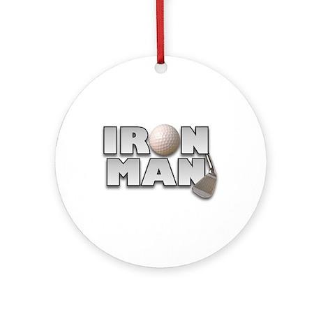 Golfing Iron Man Ornament (Round)