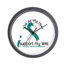 With All My Heart Cervical Cancer Wall Clock