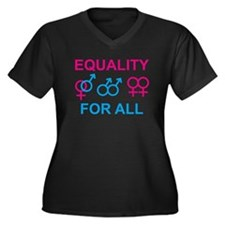 Equality Women's Plus Size V-Neck Dark T-Shirt