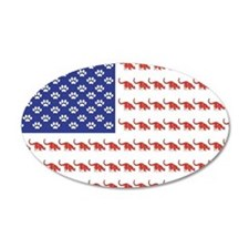 USA Patriotic Cat Flag 22x14 Oval Wall Peel