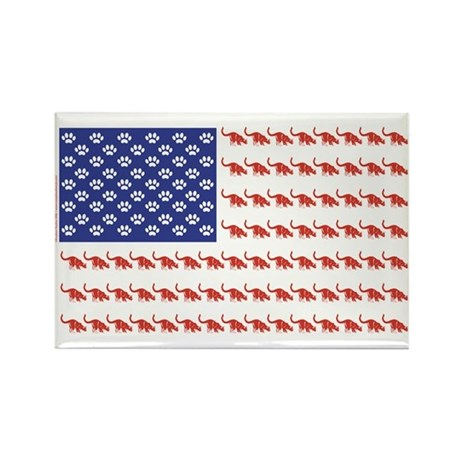 USA Patriotic Cat Flag Rectangle Magnet
