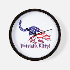 Patriotic Kitty Cat Wall Clock