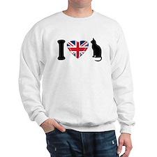 I Heart Cats with Union Jack Heart Sweatshirt