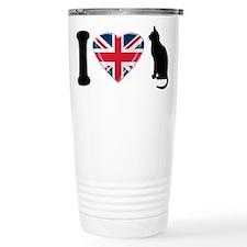 I Heart Cats with Union Jack Heart Travel Mug