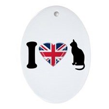 I Heart Cats with Union Jack Heart Ornament (Oval)