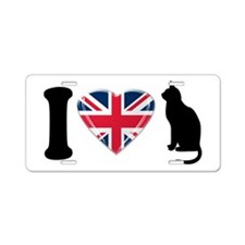 I Heart Cats with Union Jack Heart Aluminum Licens