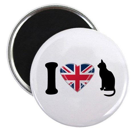 """I Heart Cats with Union Jack Heart 2.25"""" Magn"""