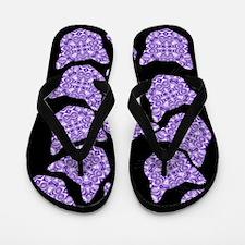 Purple Patterned Cat Face Flip Flops