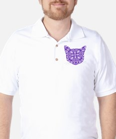 Purple Patterned Cat Face T-Shirt