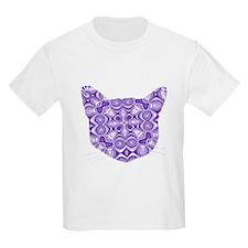 Purple Patterned Cat Face T-Shirt