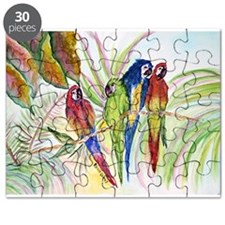 Watercolor 4 Parrots Bright.png Puzzle