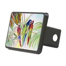 Watercolor 4 Parrots Bright.png Hitch Cover
