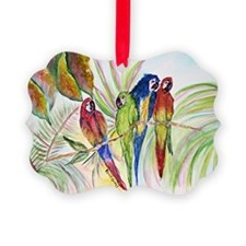 Watercolor 4 Parrots Bright.png Ornament